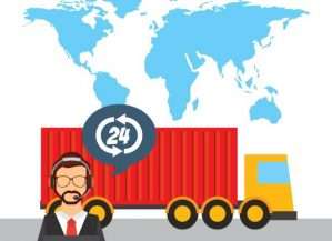 world map with cargo truck vehicle and support man worker with headset. export and import colorful design. vector illustration